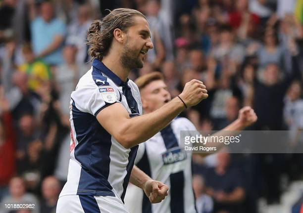 Jay Rodriguez of West Bromwich Albion celebrates after scoring their third goal in a 7-1 victory during the Sky Bet Championship match between West...