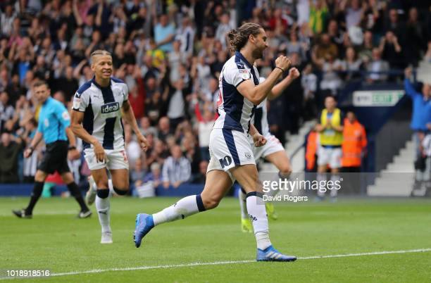 Jay Rodriguez of West Bromwich Albion celebrates after scoring their third goal from a penalty during the Sky Bet Championship match between West...