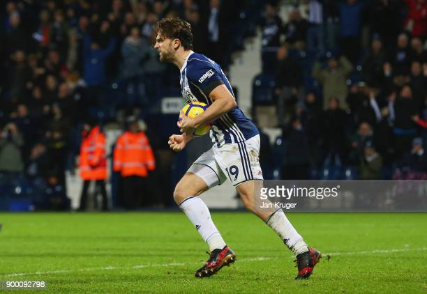 Jay Rodriguez of West Bromwich Albion celebrates as he scores their first and equalising goal from the penalty spot during the Premier League match...