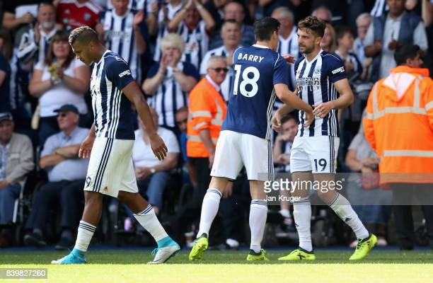 Jay Rodriguez of West Bromwich Albion celebrates scoring his sides first goal with Gareth Barry of West Bromwich Albion during the Premier League...