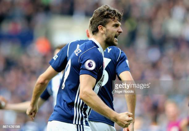 Jay Rodriguez of West Bromwich Albion celebrates scoring his sides first goal during the Premier League match between West Bromwich Albion and...