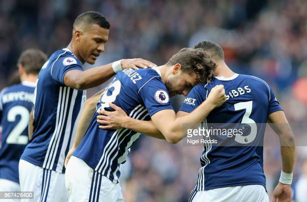 Jay Rodriguez of West Bromwich Albion celebrates scoring his sides first goal with Jose Salomon Rondon of West Bromwich Albion and Kieran Gibbs of...