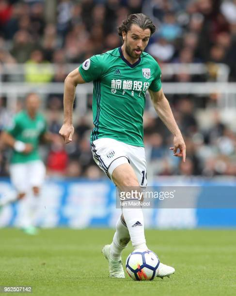 Jay Rodriguez of West Bromwich Albion controls the ball during the Premier League match between Newcastle United and West Bromwich Albion at St James...