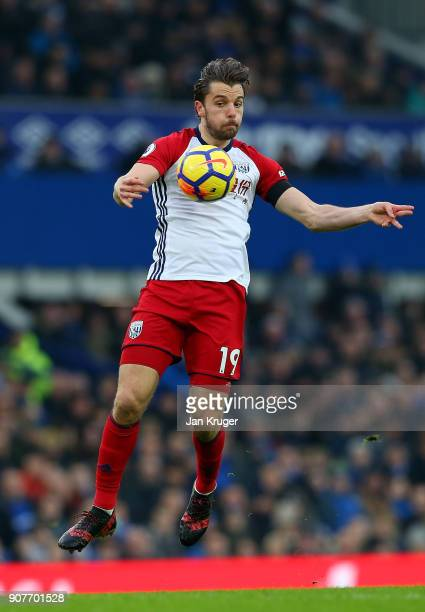 Jay Rodriguez of West Bromwich Albion controls the ball on his way to scoring his sides first goal during the Premier League match between Everton...