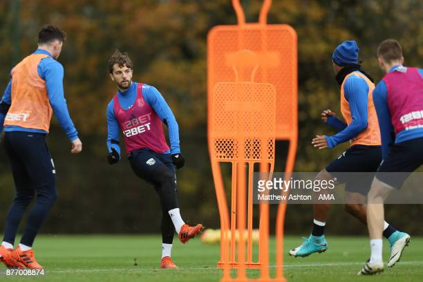 Jay Rodriguez of West Bromwich Albion during a training session on November 21 2017 in West Bromwich England