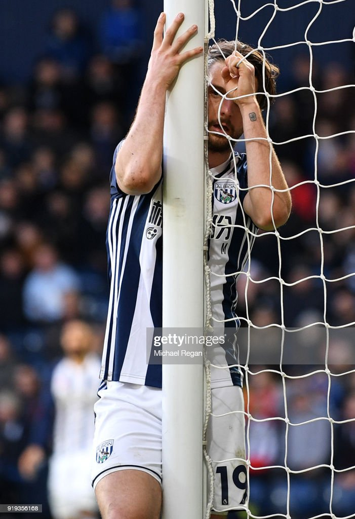 Jay Rodriguez of West Bromwich Albion looks dejected following a missed chance during the The Emirates FA Cup Fifth Round between West Bromwich Albion v Southampton at The Hawthorns on February 17, 2018 in West Bromwich, England.