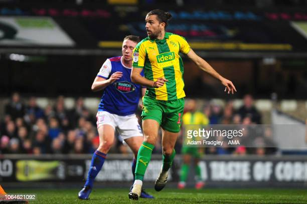 Jay Rodriguez of West Bromwich Albion scores a goal to make it 0-1 during the Sky Bet Championship match between Ipswich Town and West Bromwich...