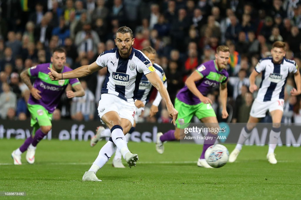 Jay Rodriguez of West Bromwich Albion scores a goal to make it 1-0 from the penalty spot during the Sky Bet Championship match between West Bromwich Albion and Bristol Cit at The Hawthorns on September 18, 2018 in West Bromwich, England.