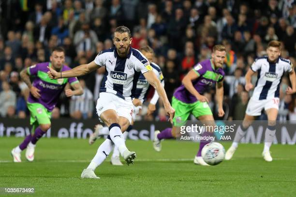 Jay Rodriguez of West Bromwich Albion scores a goal to make it 10 from the penalty spot during the Sky Bet Championship match between West Bromwich...