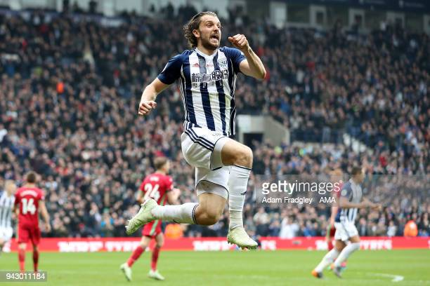 Jay Rodriguez of West Bromwich Albion scores a goal to make it 1-0 during the Premier League match between West Bromwich Albion and Swansea City at...