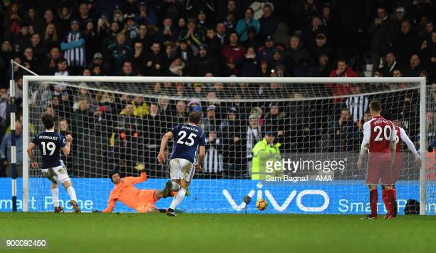 Jay Rodriguez of West Bromwich Albion scores a goal to make it 11 from a penalty kick during the Premier League match between West Bromwich Albion...