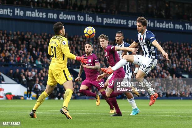 Jay Rodriguez of West Bromwich Albion scores a goal to make it 11 during the Premier League match between West Bromwich Albion and Manchester City at...