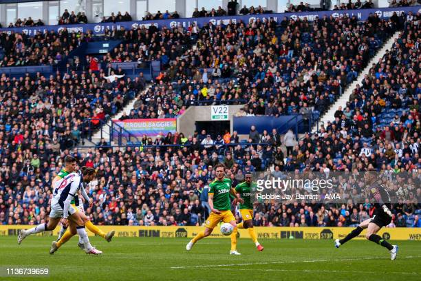 Jay Rodriguez of West Bromwich Albion scores a goal to make it 3-0 during the Sky Bet Championship match between West Bromwich Albion and Preston...