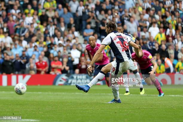 Jay Rodriguez of West Bromwich Albion scores a goal to make it 5-1 from the penalty spot during the Sky Bet Championship match between West Bromwich...