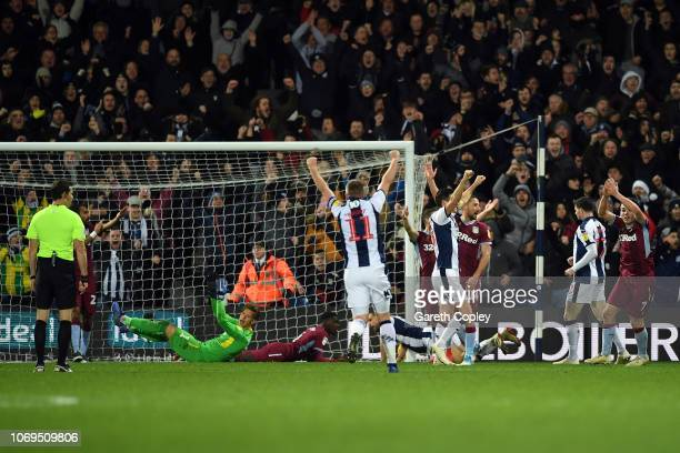 Jay Rodriguez of West Bromwich Albion scores an equalising goal during the Sky Bet Championship match between West Bromwich Albion and Aston Villa at...