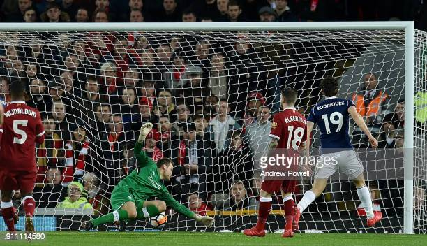 Jay Rodriguez of West Bromwich Albion scores his secong goal making the score 21 during The Emirates FA Cup Fourth Round match between Liverpool and...