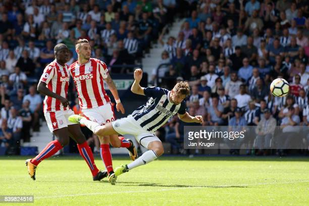 Jay Rodriguez of West Bromwich Albion scores his sides first goal during the Premier League match between West Bromwich Albion and Stoke City at The...