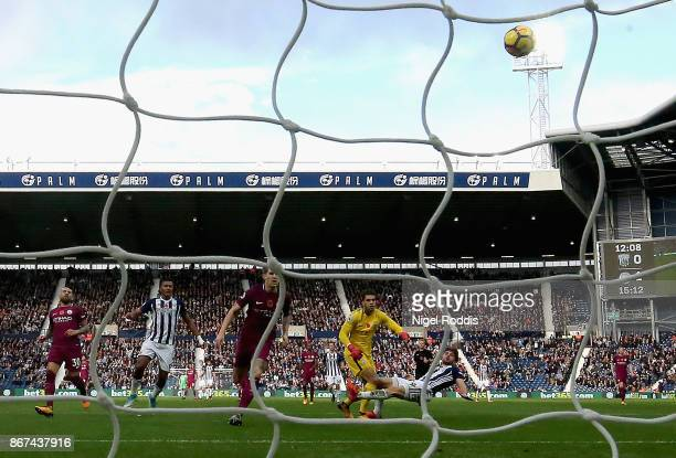 Jay Rodriguez of West Bromwich Albion scores his sides first goal during the Premier League match between West Bromwich Albion and Manchester City at...