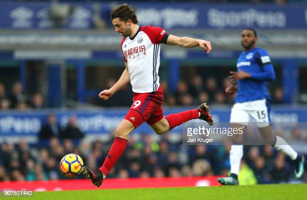 Jay Rodriguez of West Bromwich Albion scores his sides first goal during the Premier League match between Everton and West Bromwich Albion at...