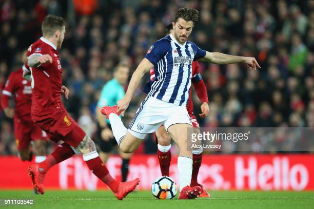 Jay Rodriguez of West Bromwich Albion scores his sides first goal during The Emirates FA Cup Fourth Round match between Liverpool and West Bromwich...