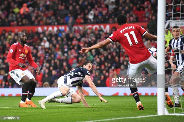 Jay Rodriguez of West Bromwich Albion scores his sides first goal during the Premier League match between Manchester United and West Bromwich Albion...
