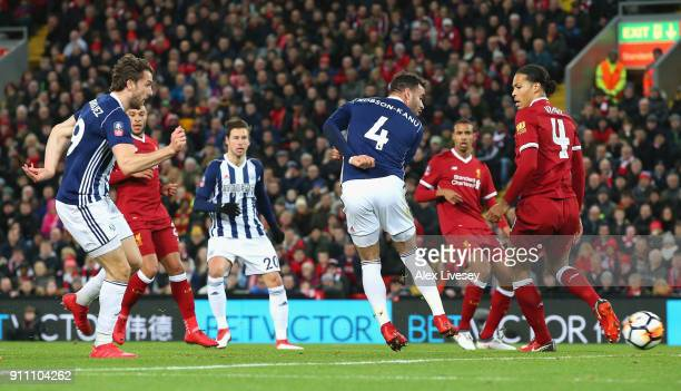Jay Rodriguez of West Bromwich Albion scores his sides second goal during The Emirates FA Cup Fourth Round match between Liverpool and West Bromwich...