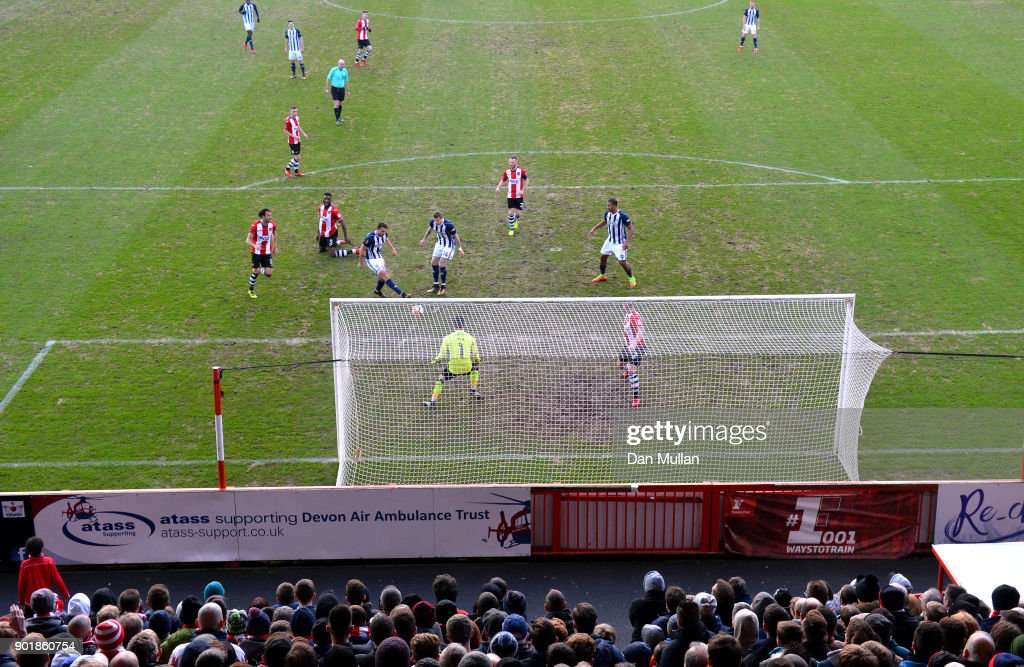Jay Rodriguez of West Bromwich Albion scores his team's second goal during The Emirates FA Cup Third Round match between Exeter City and West Bromwich Albion at St James Park on January 6, 2018 in Exeter, England.