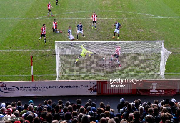 Jay Rodriguez of West Bromwich Albion scores his team's second goal during The Emirates FA Cup Third Round match between Exeter City and West...