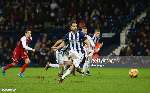 Jay Rodriguez of West Bromwich Albion scores their first goal and equalising goal from the penalty spot during the Premier League match between West...