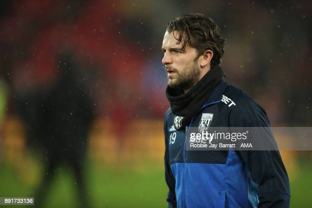 Jay Rodriguez of West Bromwich Albion warms up prior to the Premier League match between Liverpool and West Bromwich Albion at Anfield on December 13...
