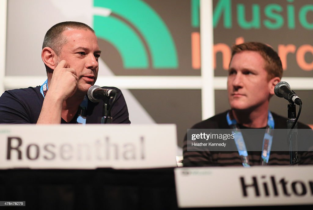 Jay Rosenthal of the National Music Publishers' Association (L) and recording artist Eric Hilton of Thievery Corporation speak onstage at 'Love the Art, Fuck the Artist: The Re-emerging Artist Rights Movement?' during the 2014 SXSW Music, Film + Interactive at Austin Convention Center on March 13, 2014 in Austin, Texas.