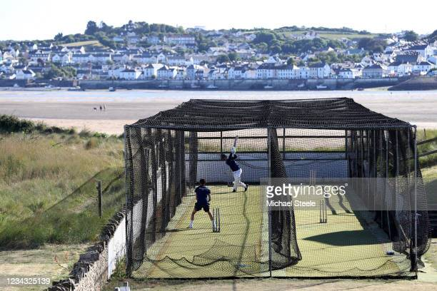 Jay Rothery of North Devon Cricket Club bats as Archie Popham bowls during a nets session carried out under new ECB guidelines on May 29 2020 in...