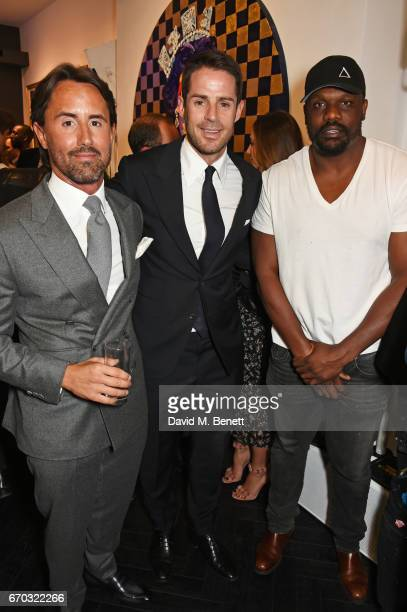 Jay Rutland Jamie Redknapp and Dereck Chisora attend a VIP private view for New York artist Bradley Theodore at Maddox Gallery on April 19 2017 in...