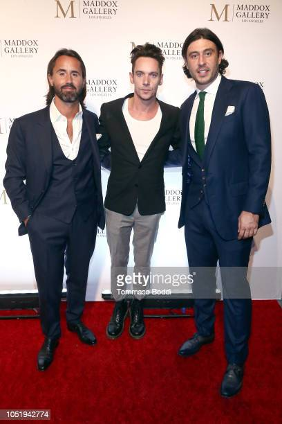 Jay Rutland Jonathan Rhys Meyers and Sam Palmer attend the Grand Opening Maddox Gallery Los Angeles on October 11 2018 in West Hollywood California