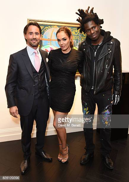 Jay Rutland Tamara Ecclestone and Bradley Theodore attend a private view of new exhibition 'Son Of The Soil' by Bradley Theodore at Maddox Gallery on...