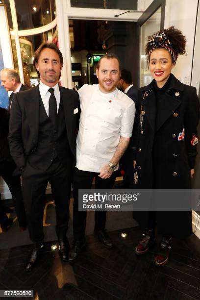 Jay Rutland Tom Sellers and Nathalie Emmanuel attend an intimate VIP private view for The Connor Brothers with catering by Michelin Starred chef Tom...