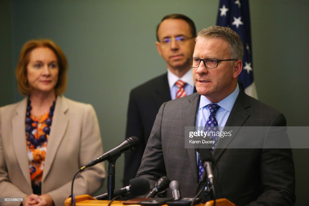 Jay S. Tabb, Jr. of the Federal Bureau of Investigation speaks at a press conference on the investigation into the murder of federal prosecutor Tom Wales on February 21, 2018 in Seattle, Washington. Behind him is Seattle mayor and former U.S. Attorney, Jenny A. Durkan U.S. and U.S. Deputy Attorney General Rod Rosenstein.