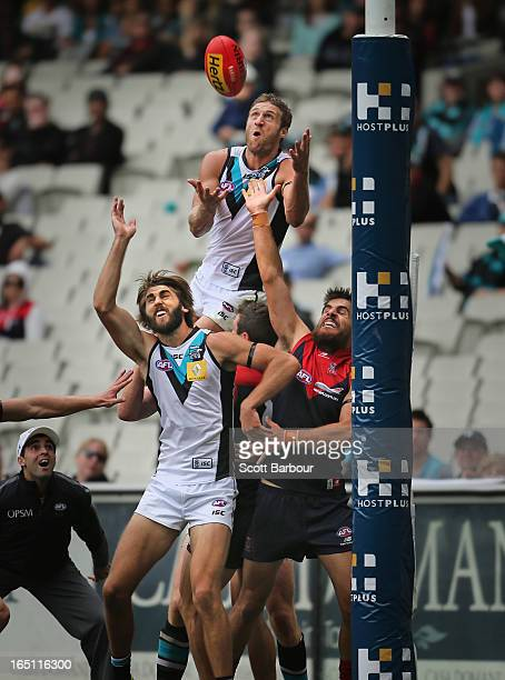 Jay Schulz of the Power takes a mark on the goal line during the round one AFL match between the Melbourne Demons and Port Adelaide Power at the...