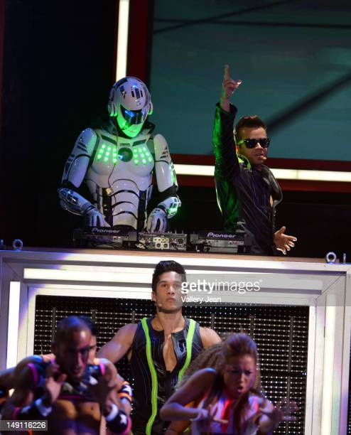 Jay Sean and Chino y Nacho onstage during Univision's Premios Juventud Awards at Bank United Center on July 19, 2012 in Miami, Florida.