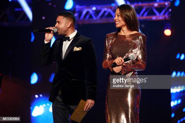Jay Sean and Viscountess Emma Weymouth speak on stage at the MOBO Awards at First Direct Arena Leeds on November 29 2017 in Leeds England