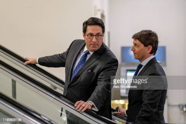 Jay Sekulow personal attorney for US President Donald Trump speaks with Hogan Gidley White House Principal Deputy Press Secretary during the Senate...
