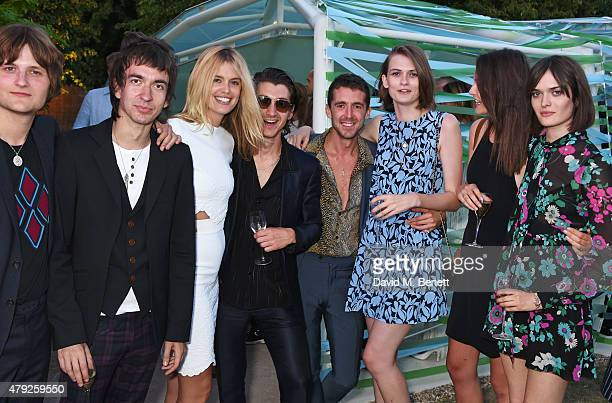 Jay Sharrock Jeff Wootton Taylor Bagley Alex Turner Miles Kane Lara Mullen Charlotte Wiggins and Sam Rollinson attend The Serpentine Gallery summer...