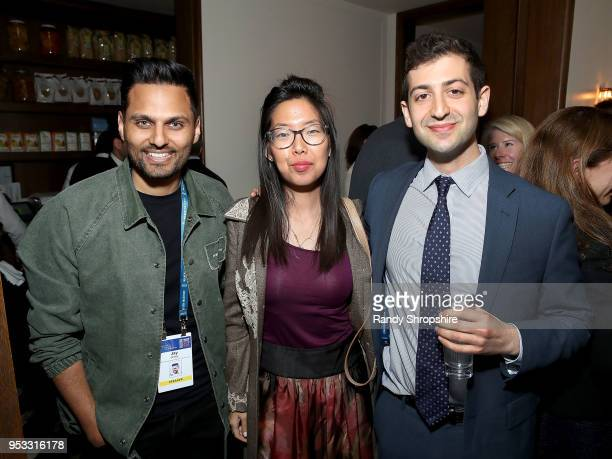 Jay Shetty Senior Managing Director at Good Worldwide inc Grace Kim and Dan Katz attend GLG Social Impact Dinner At Milken at Cecconi's on April 30...