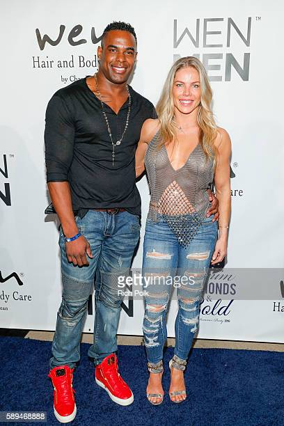 Jay Silva and Jessica Canseco attend the Chaz Dean Denim Diamond Gold Summer Party Benefiting Love Is Louder on August 13 2016 in Los Angeles...