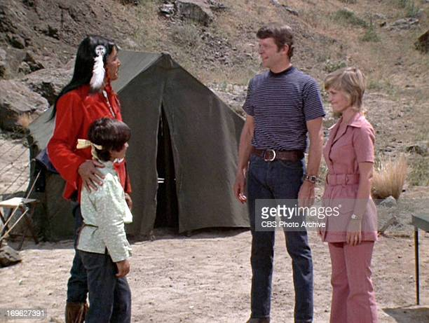 Jay Silverheels as Chief Eagle Cloud Michele Campo as Jimmy Robert Reed as Mike Brady and Florence Henderson as Carol Brady in THE BRADY BUNCH...