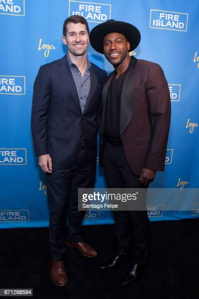 Jay Silverman and Khasan Brailsford attend Logo TV Fire Island Premiere Party at Atlas Social Club on April 20 2017 in New York City