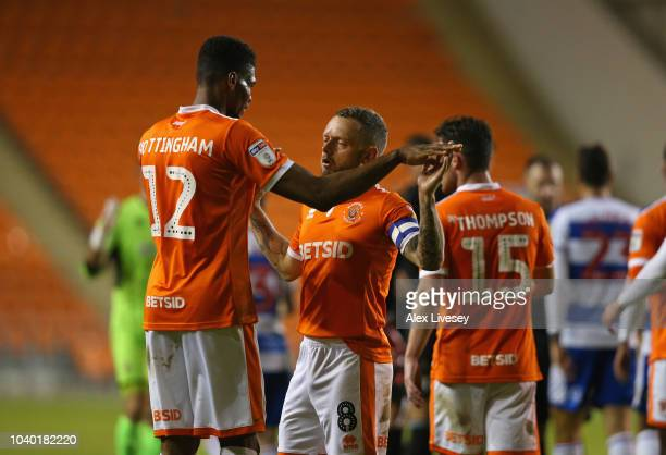 Jay Spearing and Michael Nottingham of Blackpool celebrate after the Carabao Cup Third Round match between Blackpool and Queens Park Rangers at...
