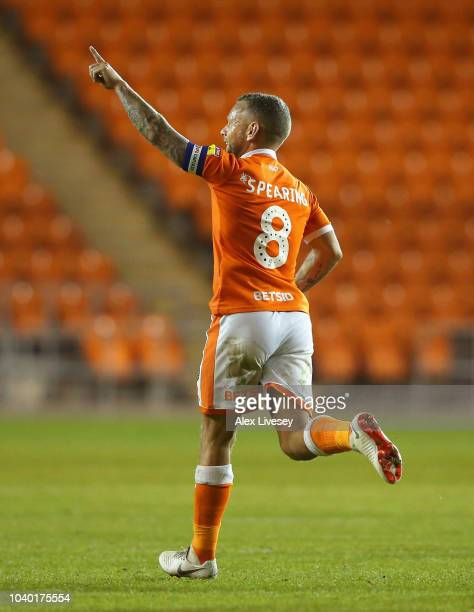 Jay Spearing of Blackpool celebrates after scoring their second goal during the Carabao Cup Third Round match between Blackpool and Queens Park...