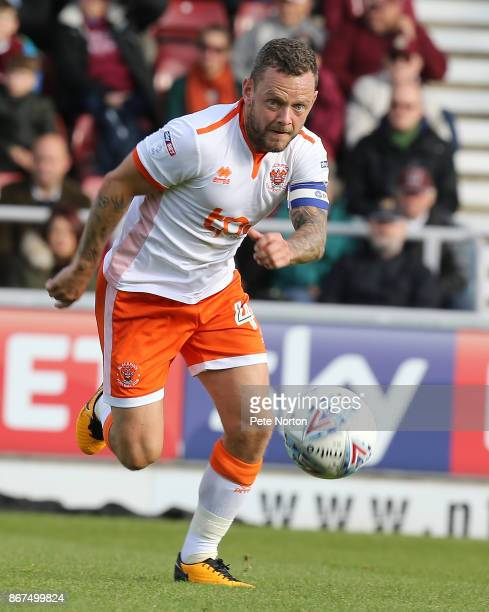 Jay Spearing of Blackpool in action during the Sky Bet League One match between Northampton Town and Blackpool at Sixfields on October 28 2017 in...