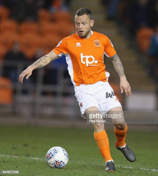 Jay Spearing of Blackpool in action during the Sky Bet League One match between Blackpool and Northampton Town at Bloomfield Road on April 10 2018 in...